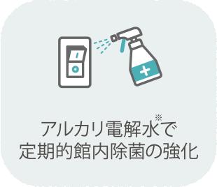 アルカリ電解水で館内定期的除菌・換気の強化